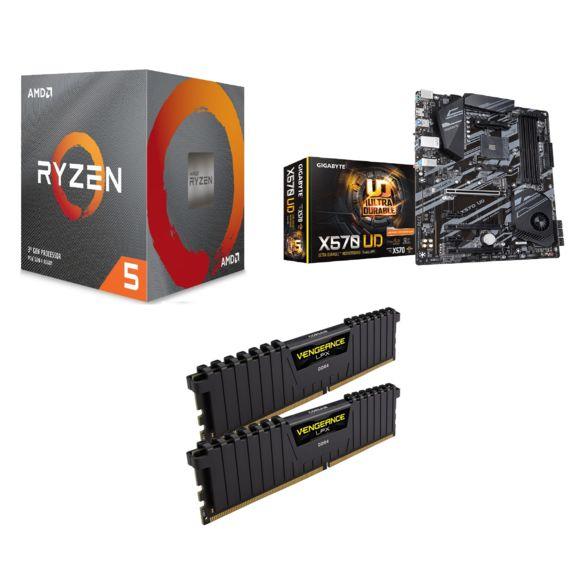 Kit de mise à jour PC - AMD Ryzen 5 3600X + Carte mère Gigabyte X570 UD + 16 Go de RAM DDR4 Corsair Vengeance LPX (3200 Mhz, CL16)