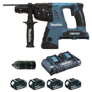 Perfo-Burineur Makita SDS-Plus 36V 26mm 2x18V Li-Ion 5Ah DHR264PT4J + 4 Batteries (outils.fr)