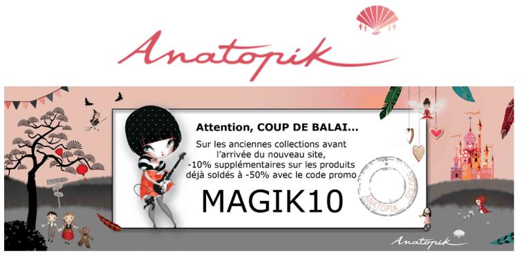 10% de réduction supplémentaire sur les articles soldés - Anatopik.com