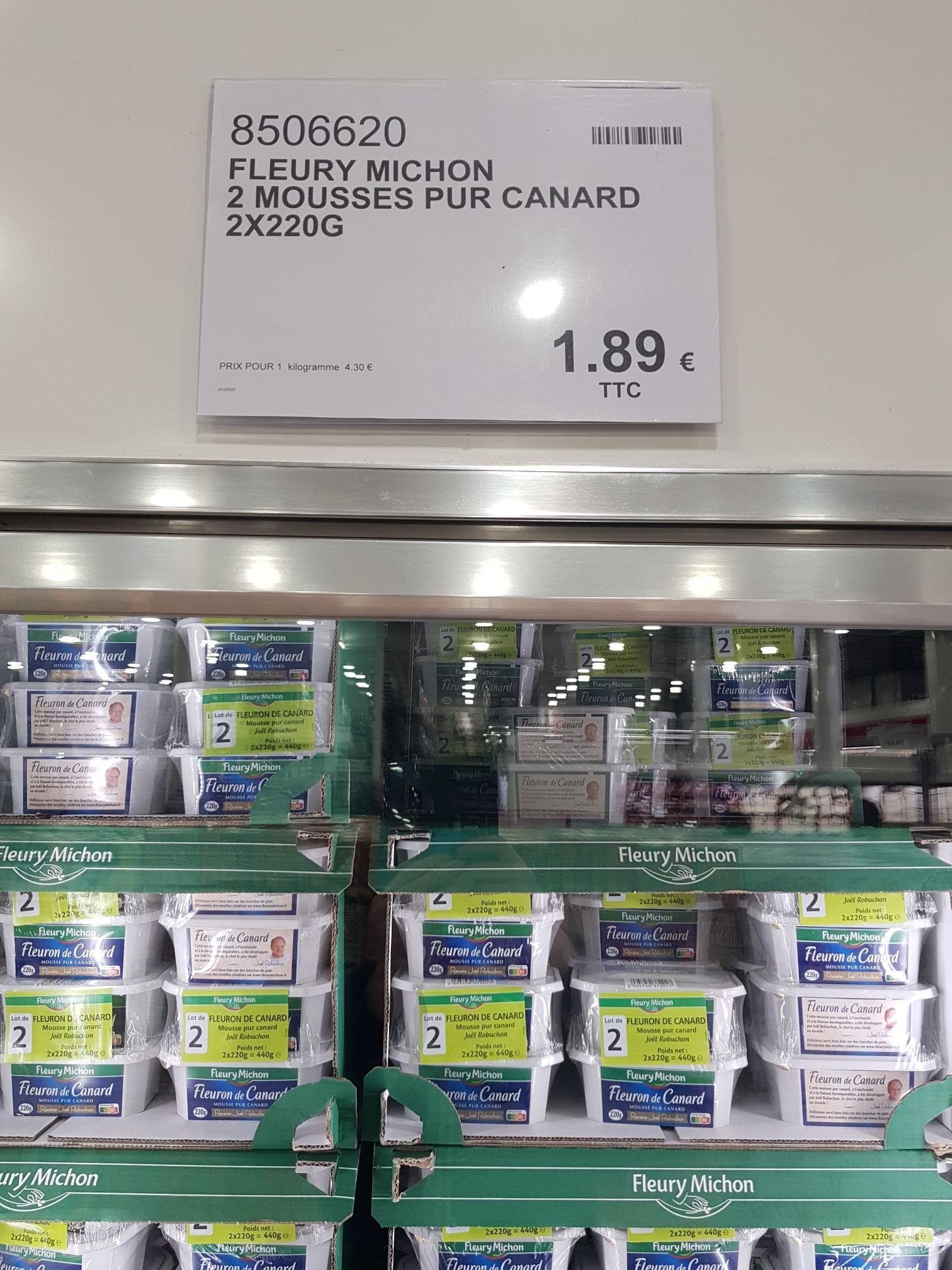 Lot de 2 boîtes de mousse de canard Fleury Michon (2 x 220g) - Les Ulis (91)