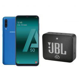 """Smartphone 6.4"""" Samsung Galaxy A50 - 4 Go de RAM, 128 Go, Bleu + Enceinte JBL Go 2"""