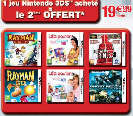 1 jeu de nintendo 3DS acheté = 1 jeux offert