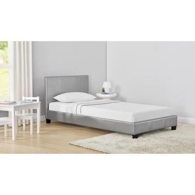 Lit enfant contemporain Monaco en simili gris argenté - Sommier et Tête de lit inclus, l 90 x L 190 cm
