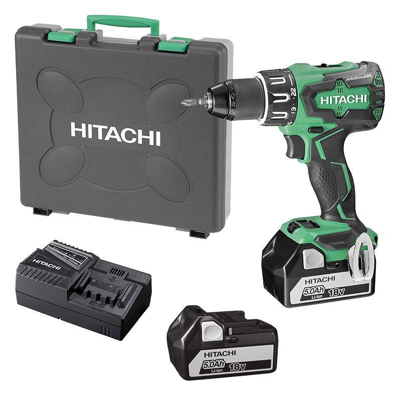 Perceuse Visseuse à percussion sans fil 18V Brushless Hitachi/Hikoki DV18DBSL - 70Nm, 2 batteries 5.0Ah, chargeur, mallette