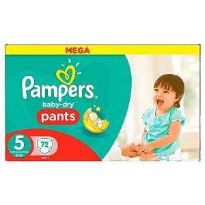 Lot de 72 couches Pampers Baby-Dry Pants Couches Taille 5 (Junior) 12-18 kg