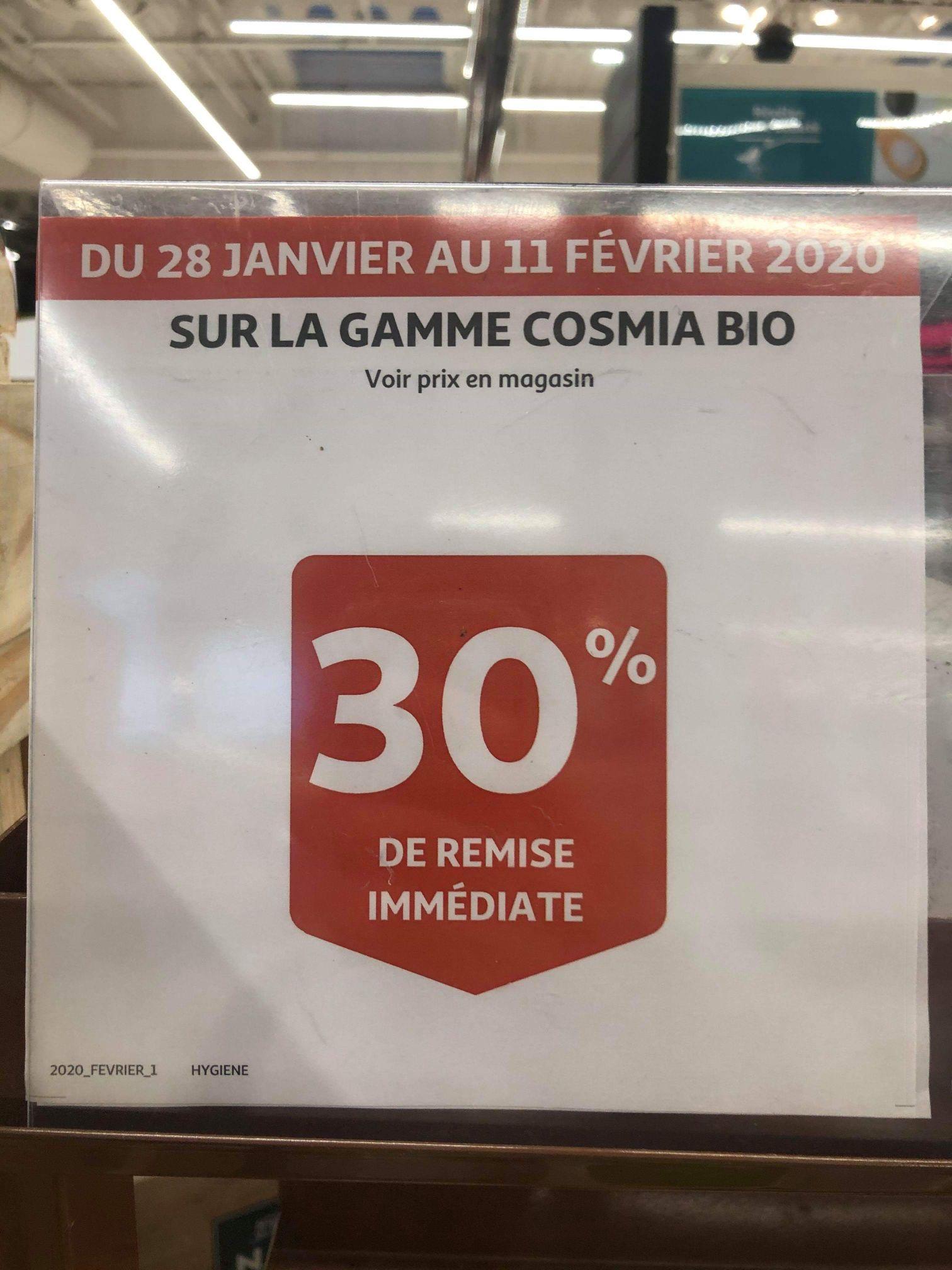 30% de remise immédiate sur les produits Cosmia Bio – Auchan et Auchan Drive National