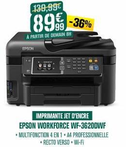 Imprimante multifonction 4 en 1 Epson  WorkForce WF-3620DWF - Jet d'encre, Wifi