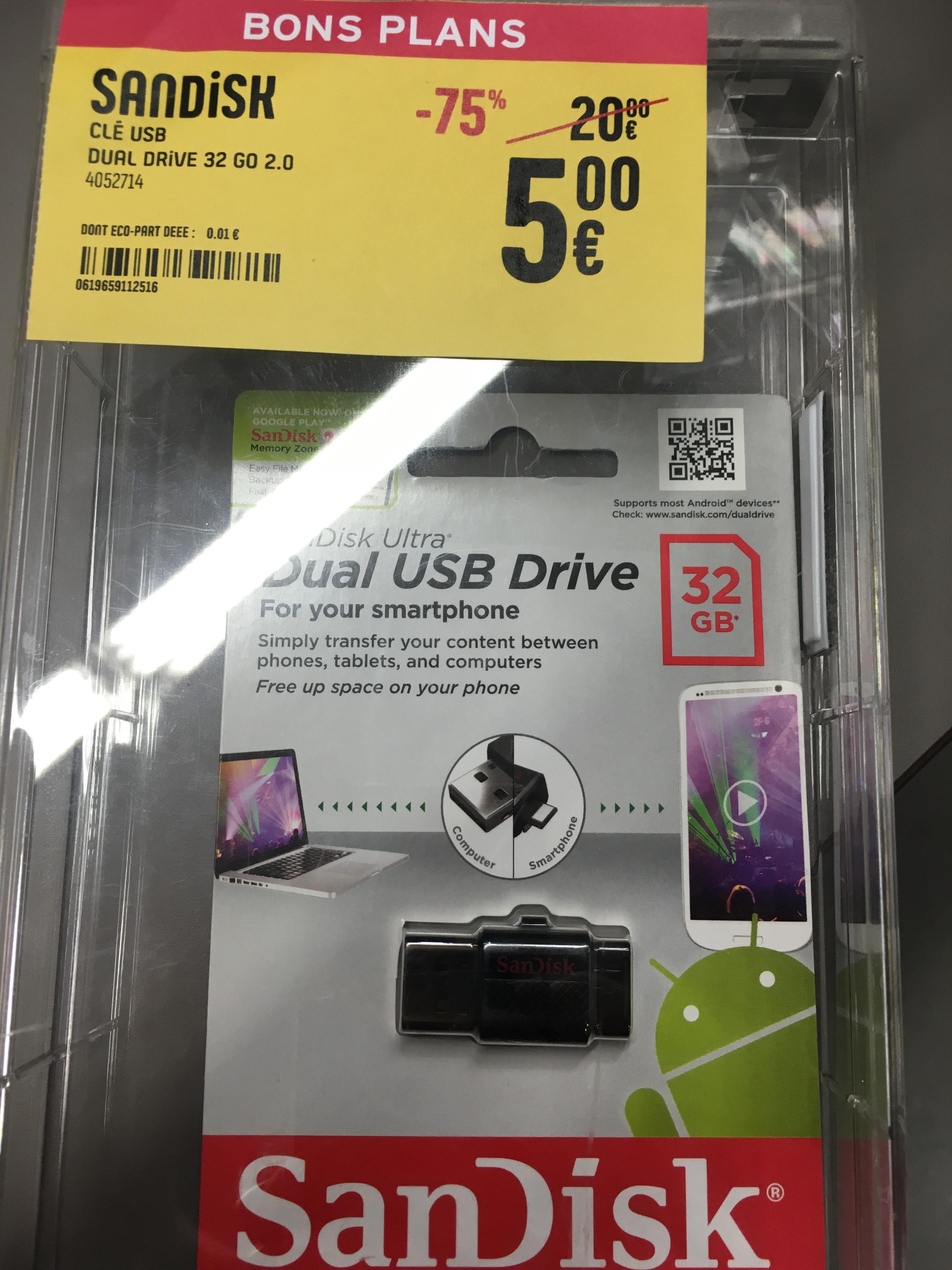 Clé USB 2.0 SanDisk USB Dual Drive - 32Go