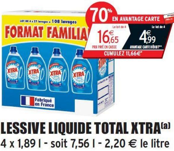 4 Bidons de Lessive liquide XTra - 4x27 lavages (via 11.66€ fidélité)