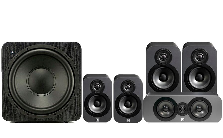 Enceintes Q-Acoustics 3020 Cinéma Pack + Caisson de basses SB1000