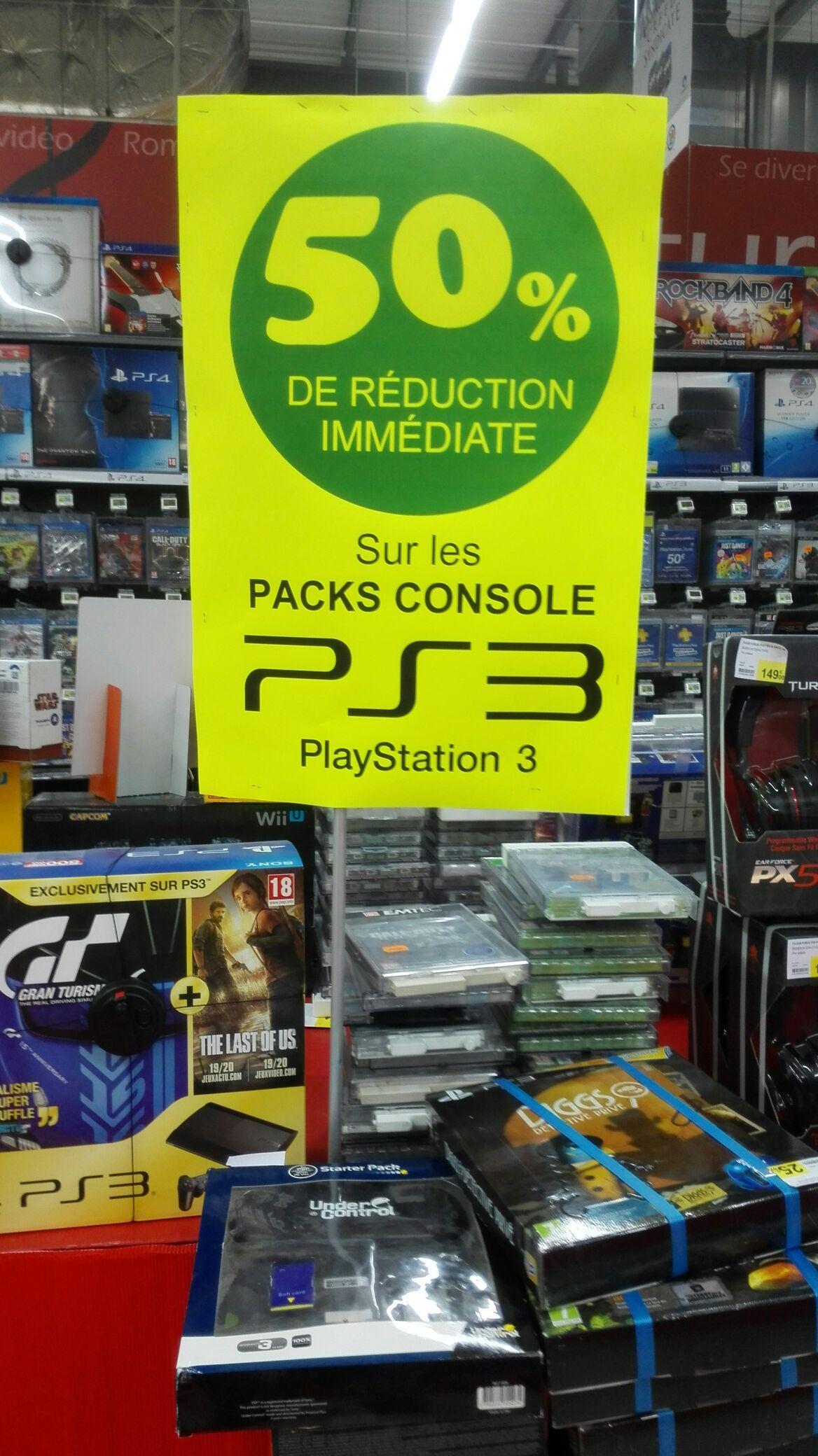 50% de réduction sur les Packs Console Sony PS3 - Ex : Pack PS3 Gran Turismo 6 + The Last of US