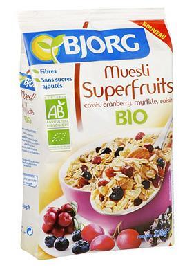 Sélection de produits Bjorg en promotion - Ex : Céréales Muesli Superfruits (cassis, cranberry, myrtille, raisin) 4,5 kg