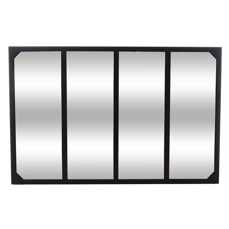Miroir métal style verrière noir - 76x116cm