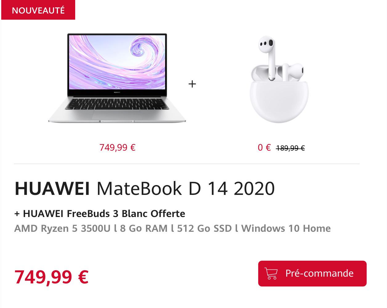 "[Précommande] PC Portable 14"" Matebook D 14 2020 - Full HD, Ryzen, 8 Go de RAM, SSD 512Go, Windows 10"