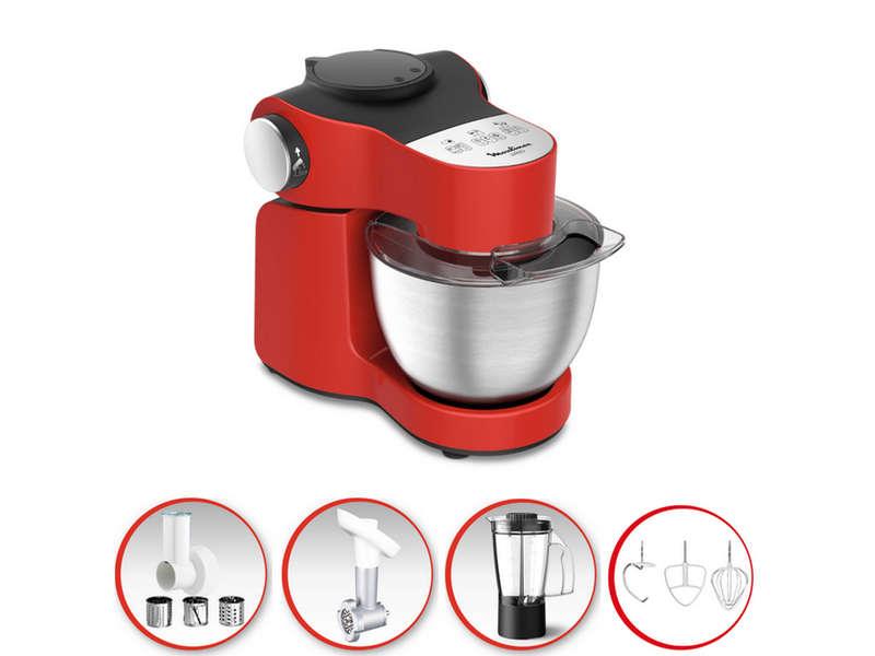 Robot pâtissier Moulinex Wizzo QA317510 rouge 1000W, 4L + 3 accessoires, Inox