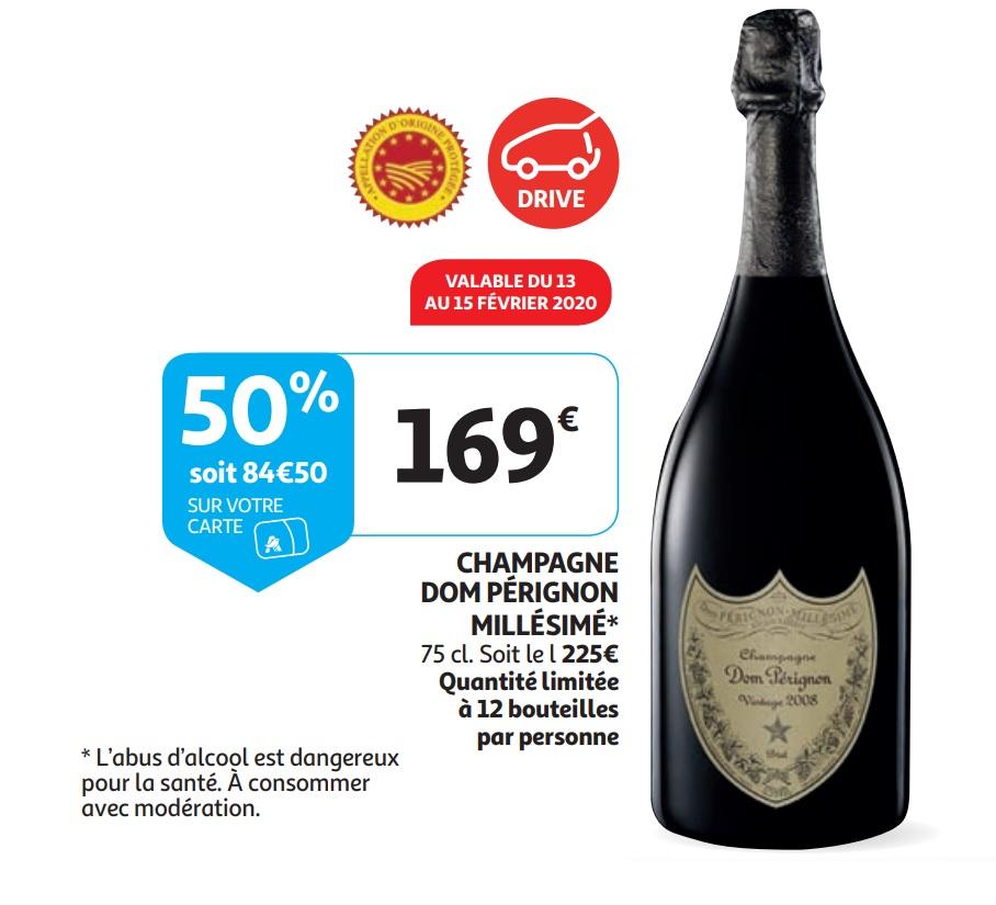 Champagne Dom Pérignon Millésimé - via 84.5€ sur la carte (Frontaliers Luxembourg)