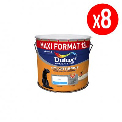 Lot de 8 pots de peinture mono-couche Dulux Resist Color Resist - blanc mat, lessivable et résistant, 8x12 L