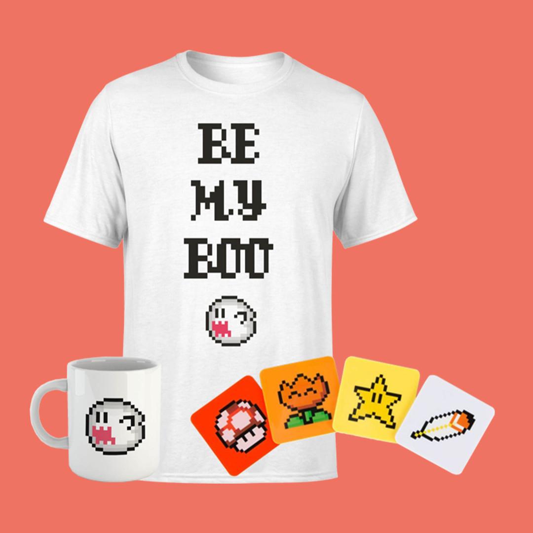 Box cadeau Nintendo - 1 T-Shirt (homme ou femme, S au XXL) + 1 tasse + 4 dessous de verre