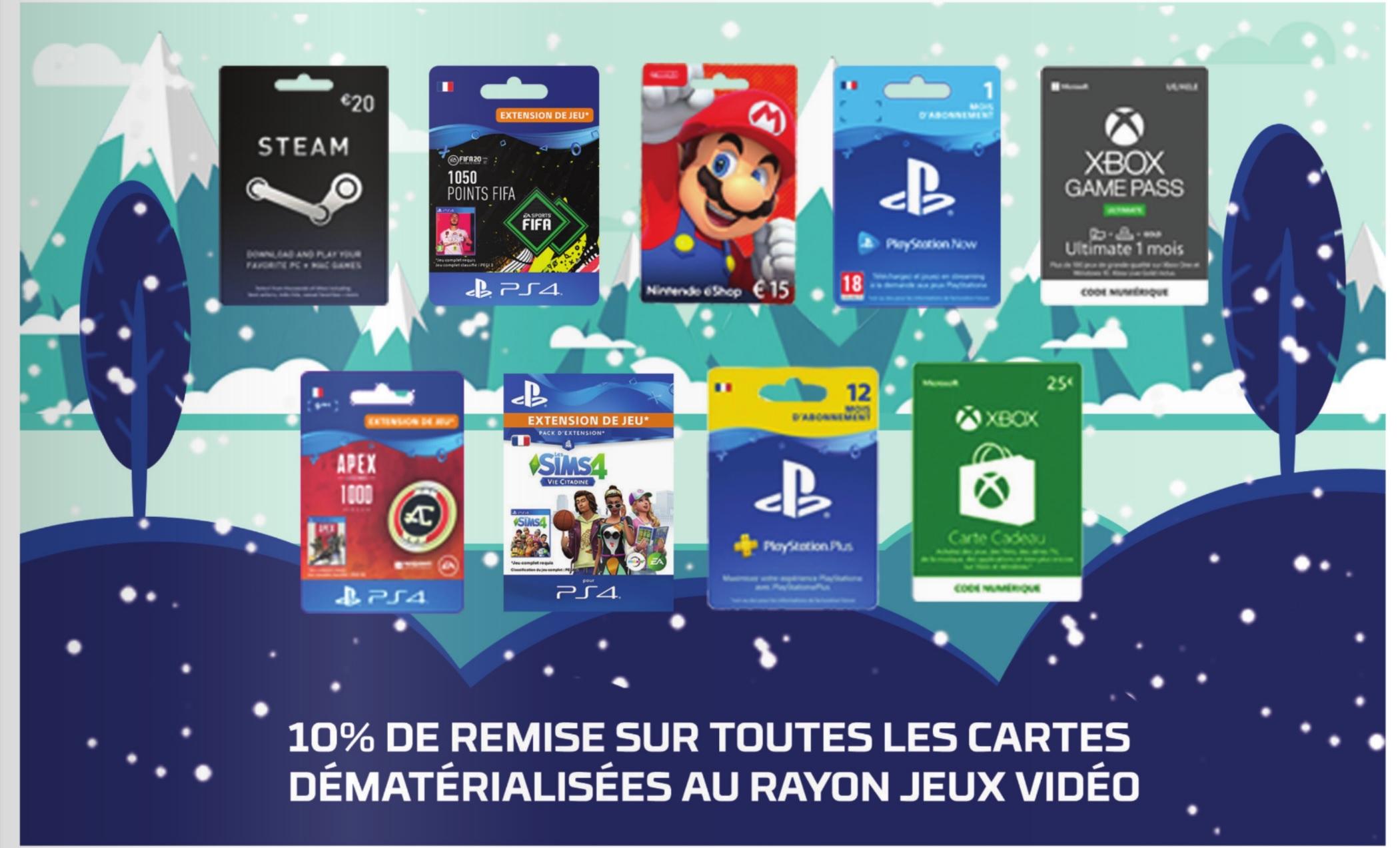 10% de remise immédiate sur les cartes dématérialisées au rayon jeux vidéo. EX : Xbox Live e-carte cadeau 25€