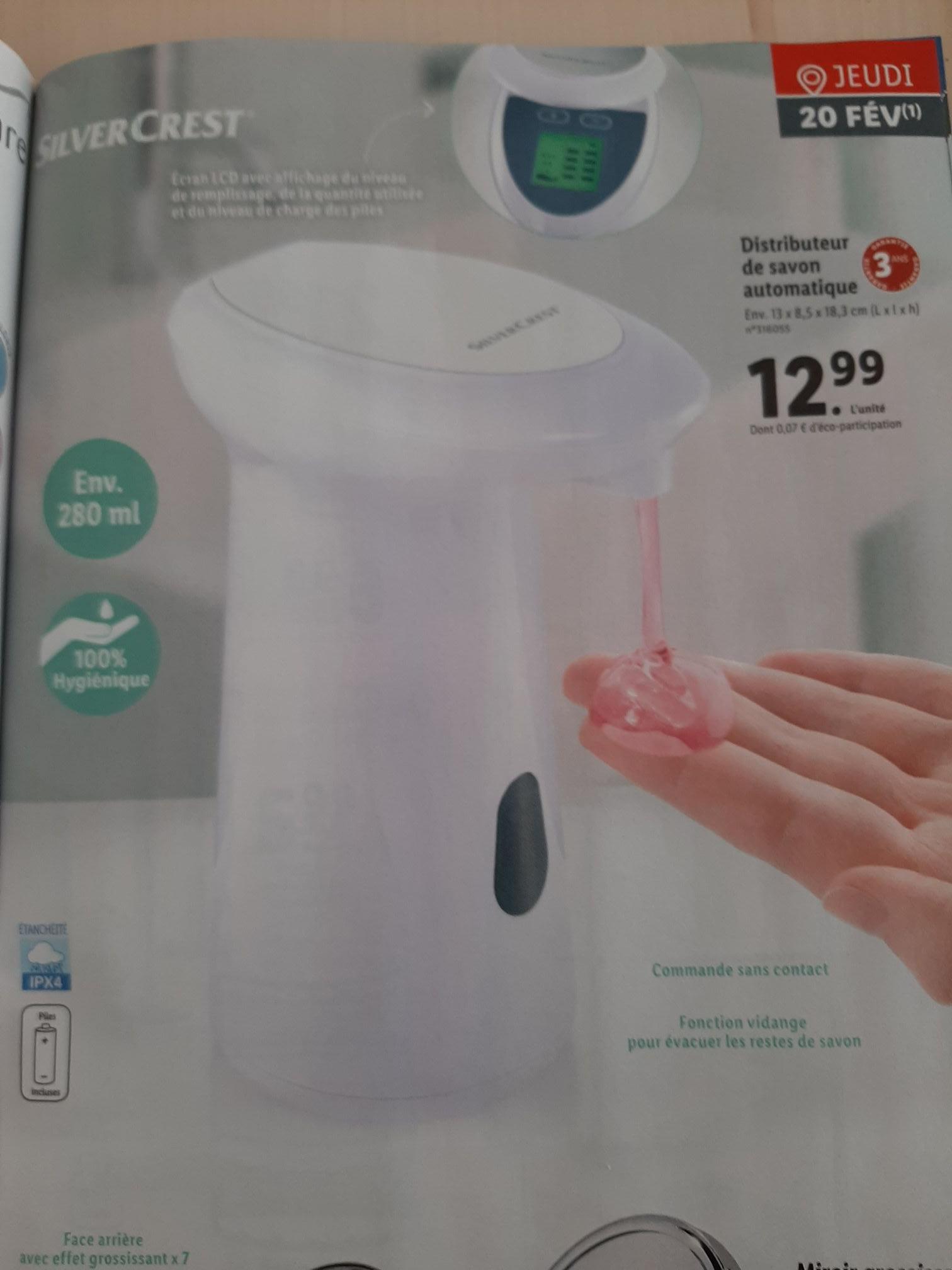 Distributeur de savon automatique Silvercrest avec détecteur et écran LCD - 280ml