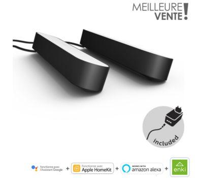 Pack de 2 Lampes connectées Philips Hue Play + 1 Extension - Noir ou Blanc