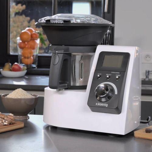 Robot Culinaire Multifonctions Chauffant H.Koenig HKM1032 - 1300W, Blanc/Gris