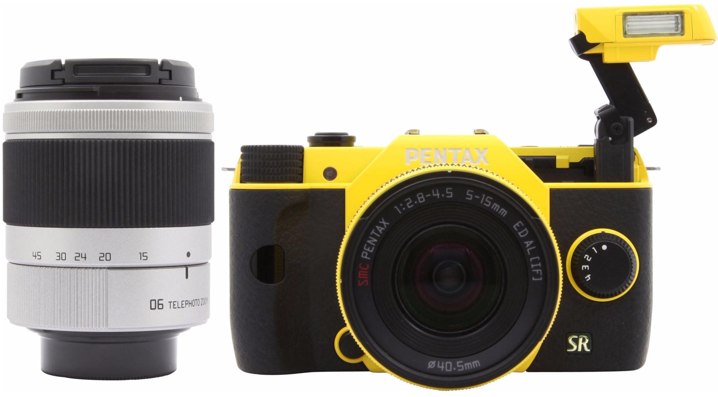 Appareil Photo Hybride Pentax Q7 Jaune + Objectifs 5-15 mm et 15-45mm