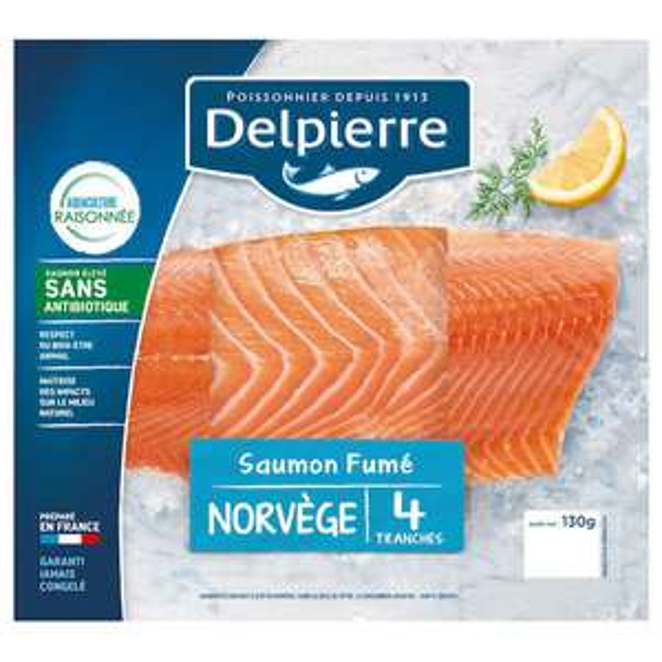 Saumon fumé Delpierre 4 tranches - 130g (via 1,60€ fidélité et BDR)
