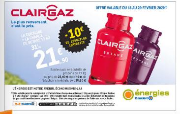 Bouteille de gaz butane Clairgaz 13 kg + consigne