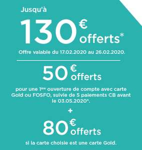 [Nouveaux clients] 50€ offerts pour toute ouverture d'un compte avec carte bancaire Mastercard Fosfo ou 130€ avec carte Mastercard Gold