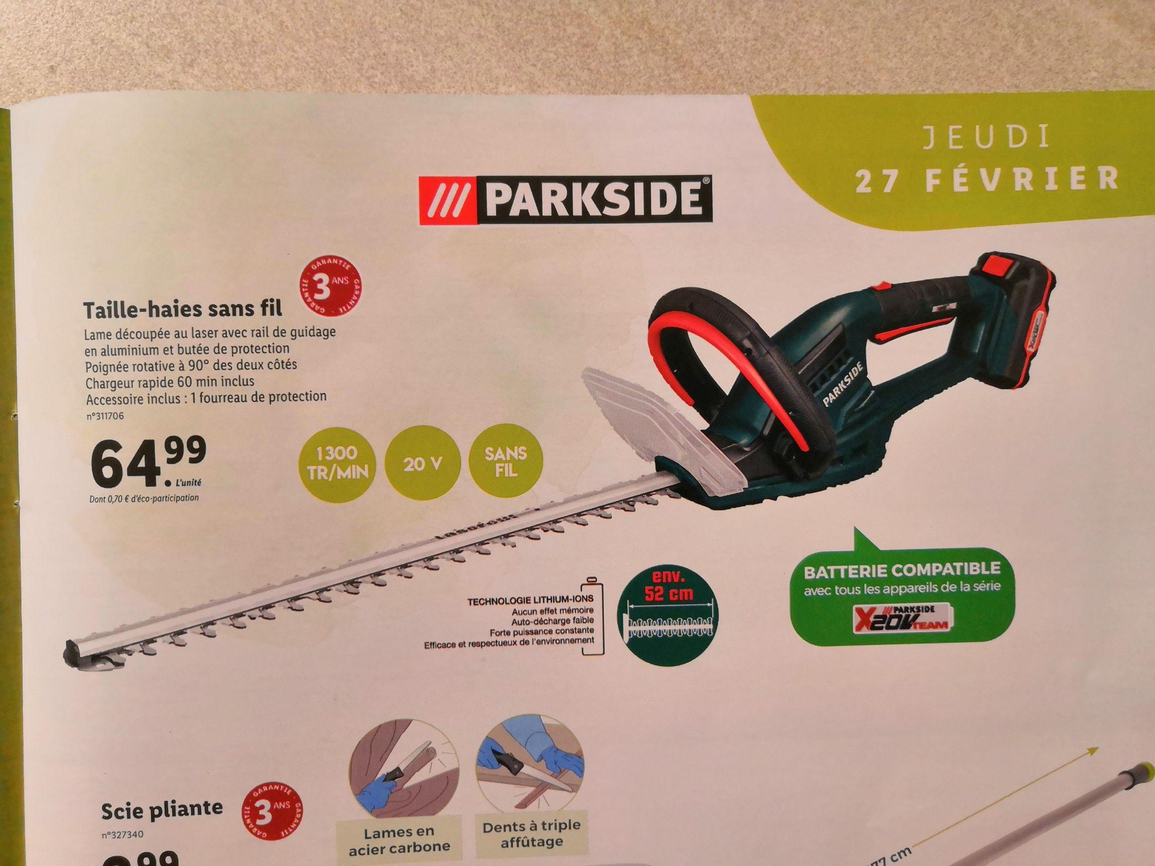 Taille-haies Sans-fil Parkside compatible Batterie X20V Team