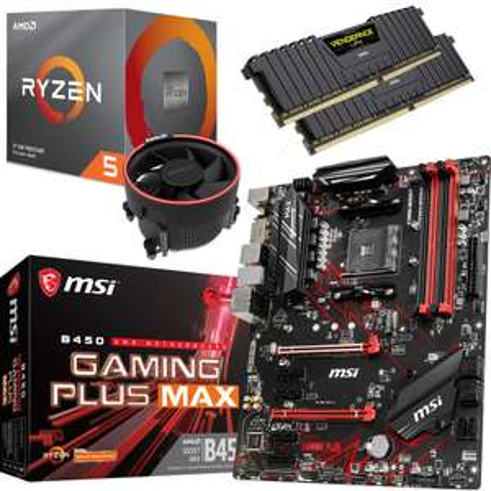 Processeur AMD Ryzen 5 3600X + Carte Mère MSI B450 Gaming Plus Max + Kit mémoire DDR4 Corsair Vengeance LPX 16 Go (2 x 8 Go) - 3200 MHz, C16