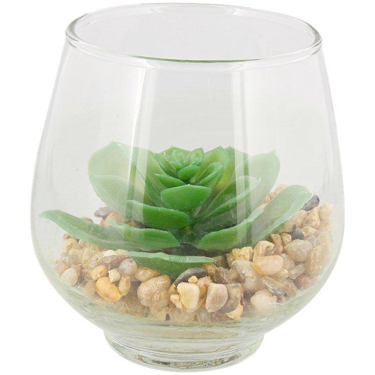 Plante grasse artificielle dans un vase - Différentes variantes