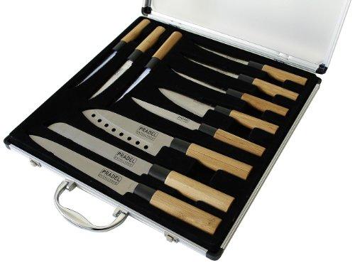 Valise de 5 Couteaux de Cuisine + 6 Steaks Pradel Excellence KN2009-11 - Manche Bambou