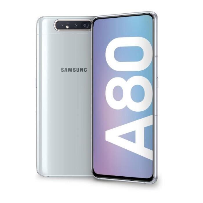 """Smartphone 6.7"""" Samsung Galaxy A80 - Full HD, Snapdragon 7150, RAM 8 Go, ROM 128 Go (Argent ou Noir)"""