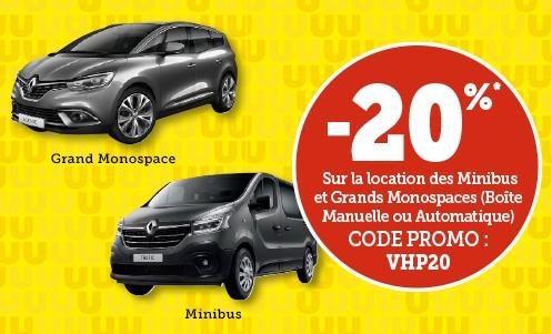 20% de réduction sur la location d'un véhicule Grand Monospace ou d'un Minibus