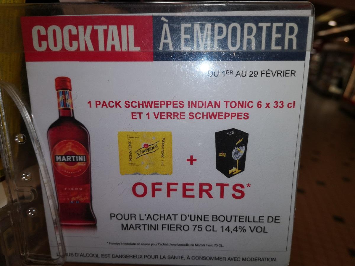 Verre Schweppes + Pack 6 canettes de Schweppes + Bouteille de Martini Fiero