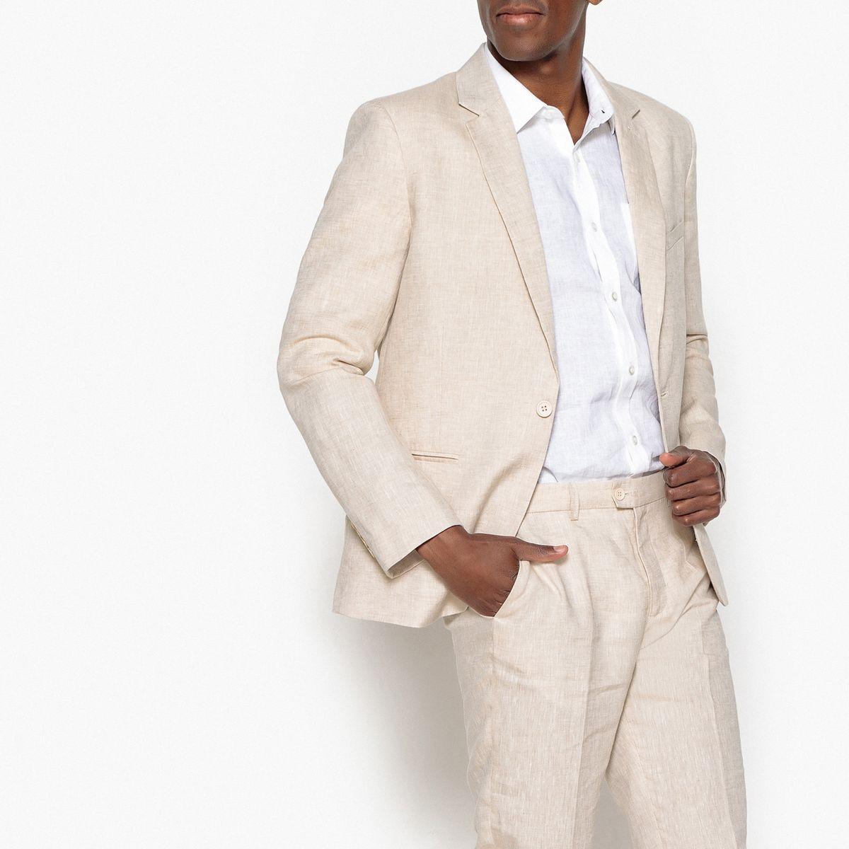 Veste de costume slim en lin/coton - Tailles 42, 46, 48 & 52