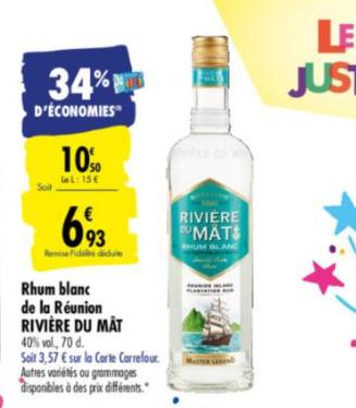 Rhum Blanc Rivière du Mat 40% - 70cl (via 3,57€ sur la carte fidélité)