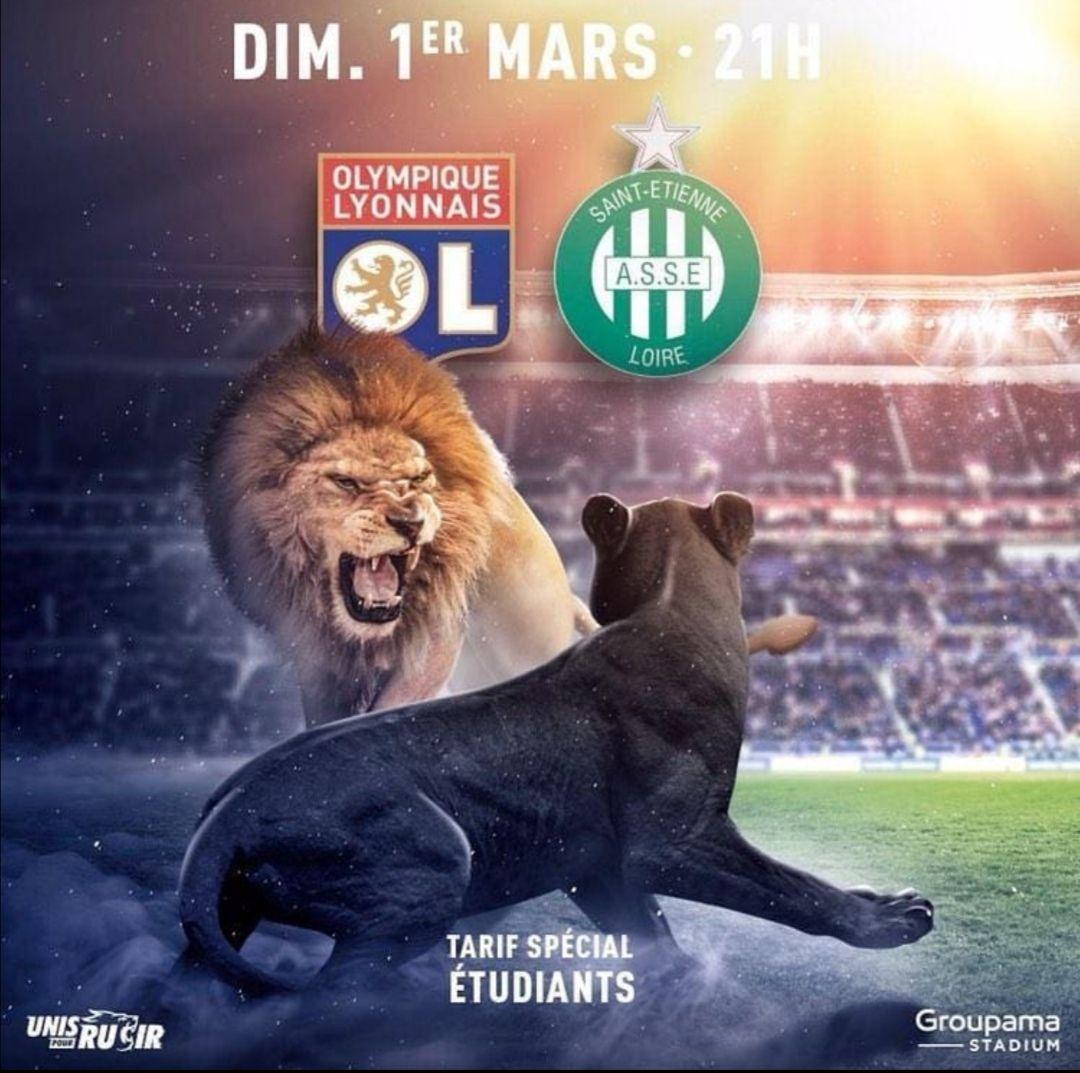 5€ de réduction pour toute place sur le Match de football Ligue 1 OL vs ASSE