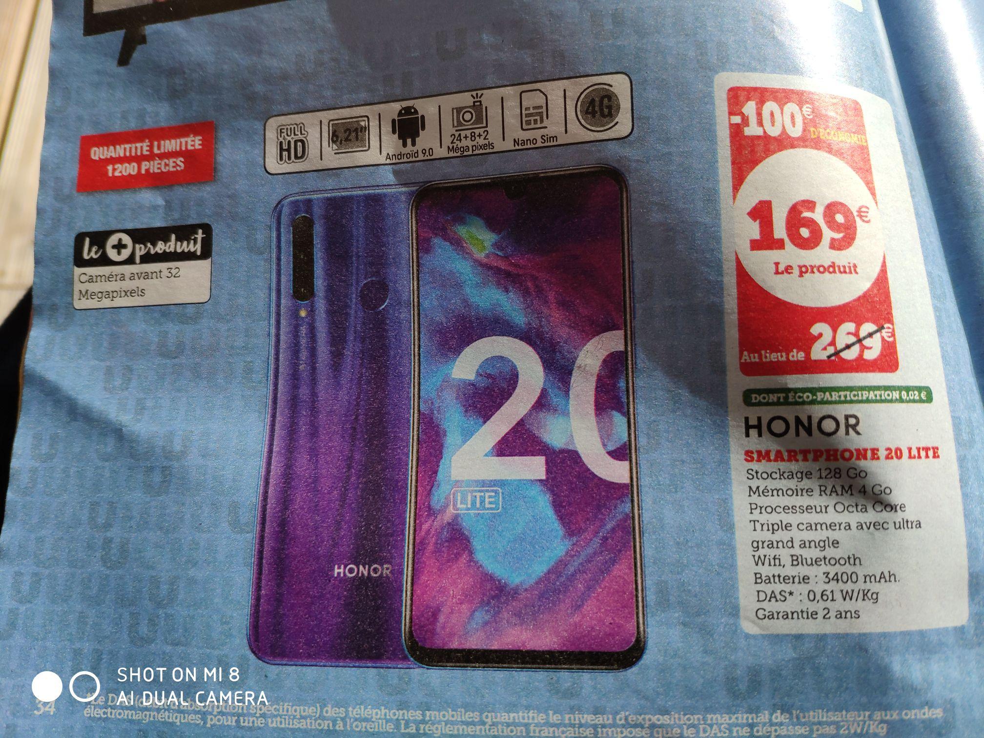 """Smartphone 6.21"""" Honor 20 Lite - 128 Go (dans une sélection de villes)"""