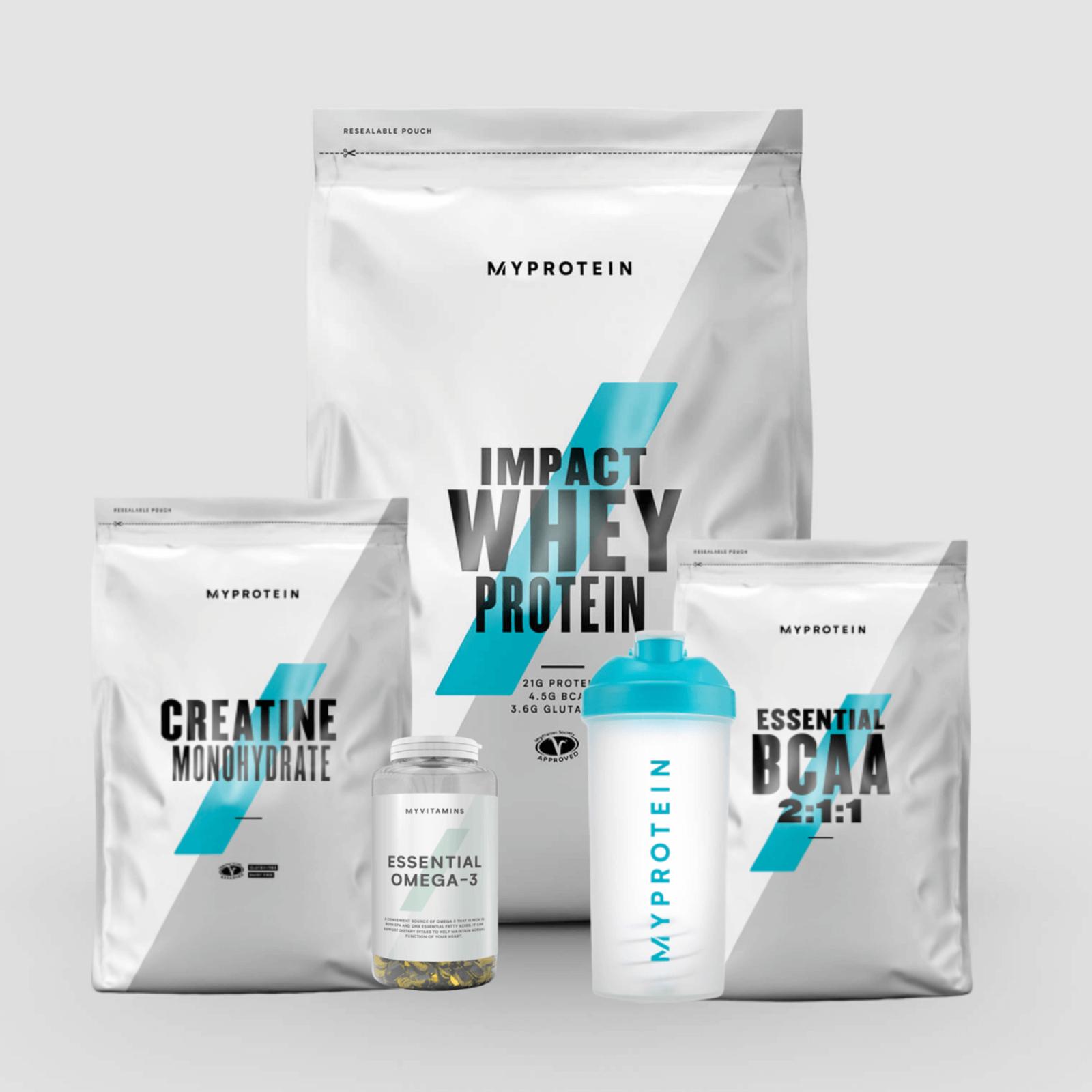 Pack Essentiel : 1kg d'Impact Whey Protéine Vanille + 250g de BCAAs Grenadine + 500g de créatine monohydrate + 250 capsules Oméga 3 + Shaker