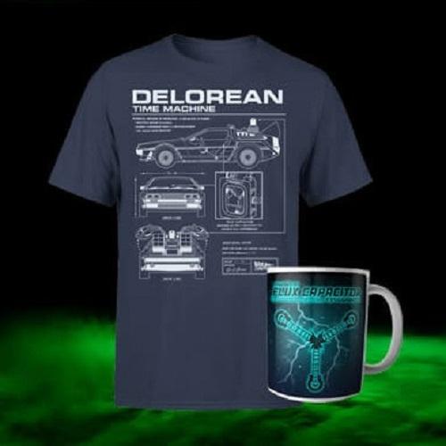 T-Shirt Retour vers le Futur (S au XXL) + Mug officiel - Ex : T-shirt Retour vers le Futur - Schéma de la DeLorean + Mug DeLorean