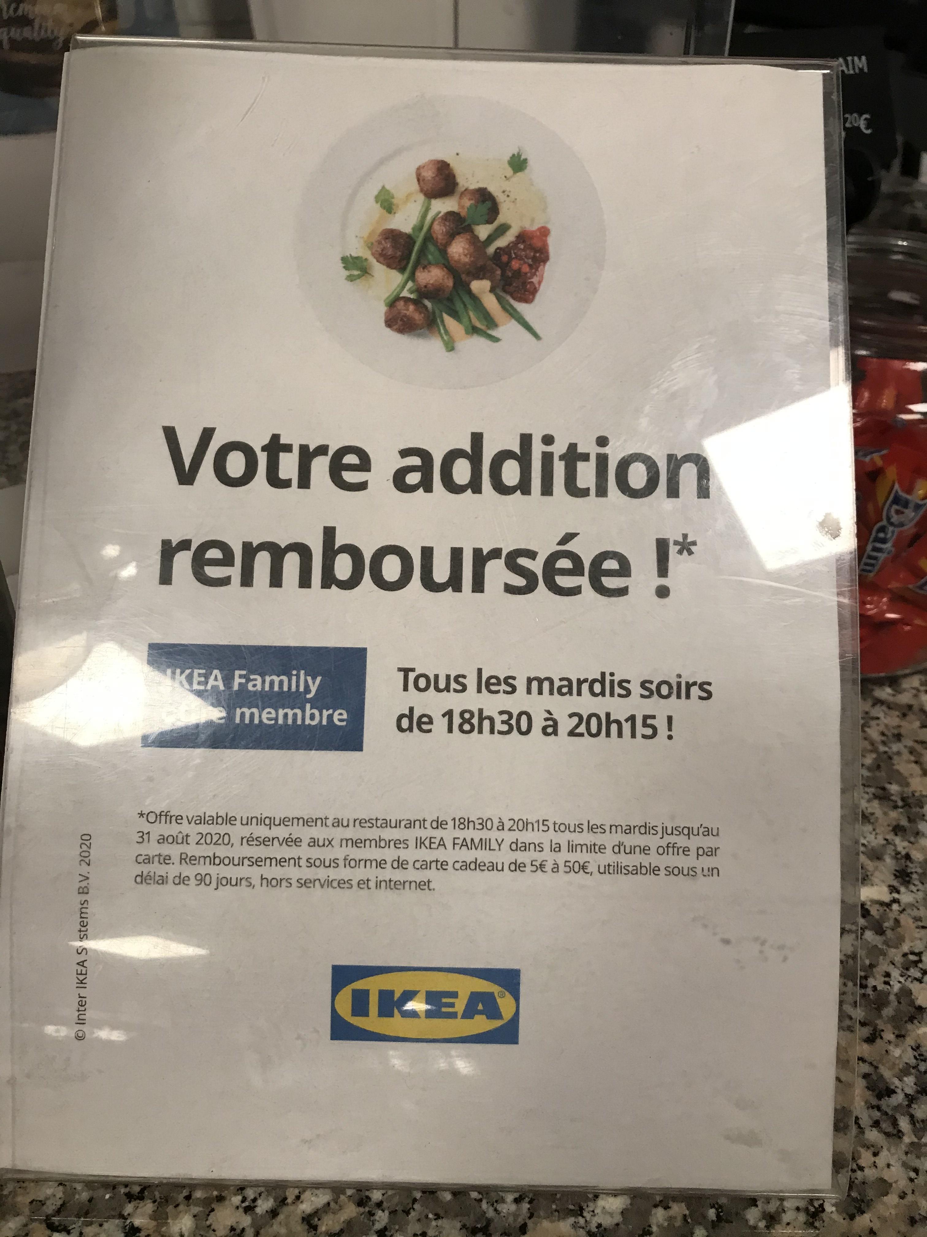[Ikea Family] Repas remboursé sous forme de carte cadeau tous les mardis - Saint Herblain (44)