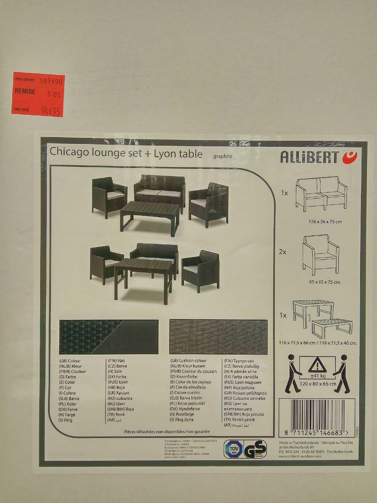 Salon de jardin Allibert Chicago : Lounge 4 places avec banquette, 2 fauteuils et table - Carrefour Vaulx-en-Velin (69)