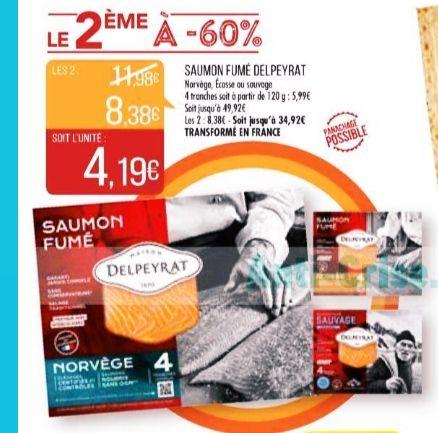 2 Paquets de 4 tranches de saumon Delpeyrat - 120g, variété au choix (via 2 ODR Shopmium)