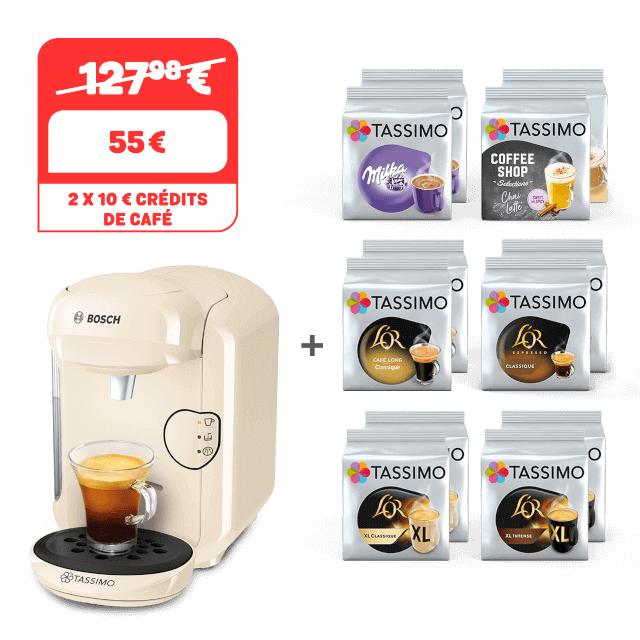 Cafetière à capsules Bosch Tassimo Vivy 2 + lot de 12 paquets de dosettes de café (différents types)