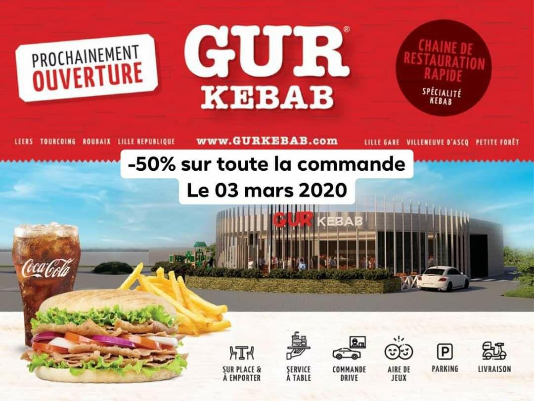 50% de réduction sur votre commande - Gur Kebab Mouscron (Frontaliers Belgique)