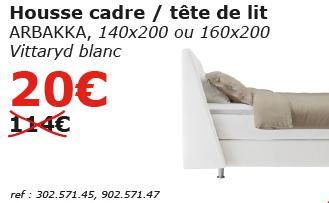sélection d'articles en soldes - Ex : Housse cadre / Tête de lit Arbakka 140x200 ou 160X200