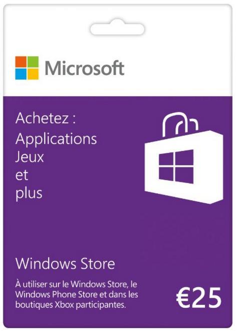 Carte cadeau Windows Store (fonctionne Xbox live) de 25€